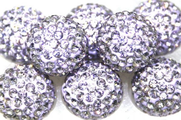 12mm Lilac 130 Stone  Pave Crystal Beads- 2 Hole PCB12-130-015